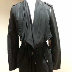 Dex layering jacket with pleather sleeves